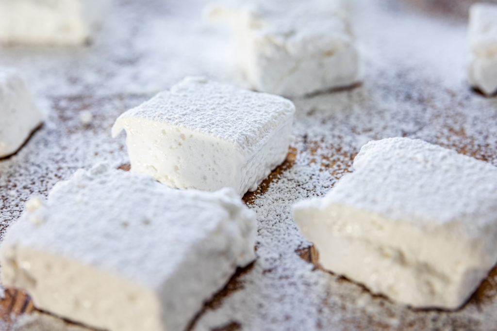 Freshly dusted homemade marshmallows