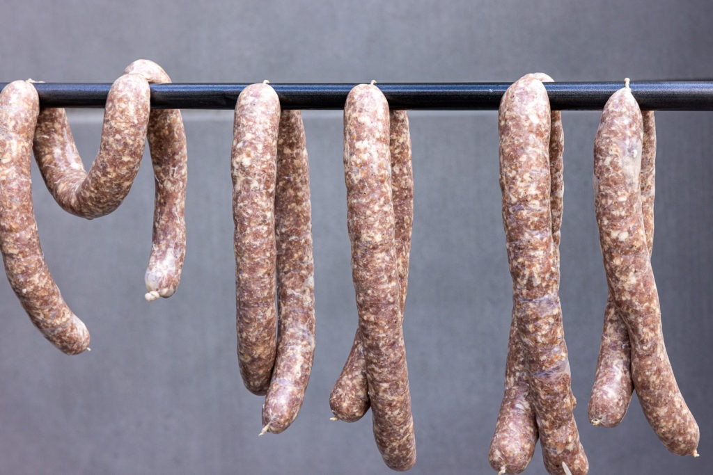 Hanging sausages, drying in the breeze