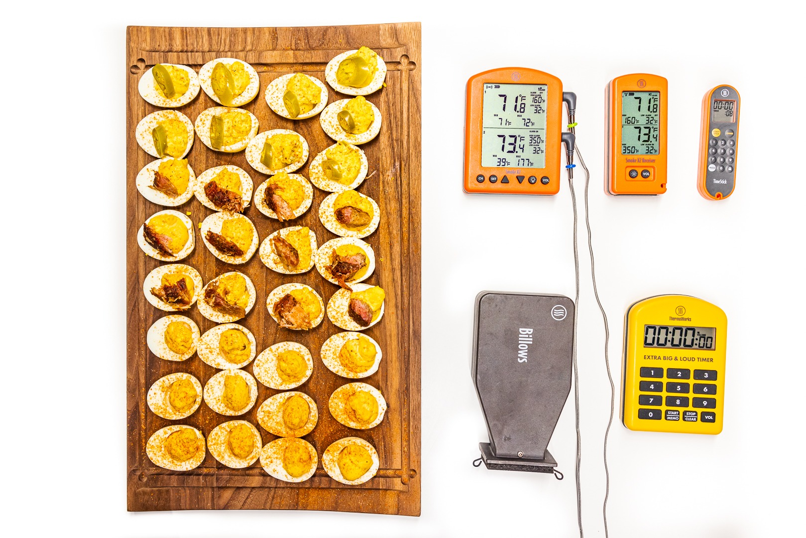 Smoked deviled eggs and the tools to make them