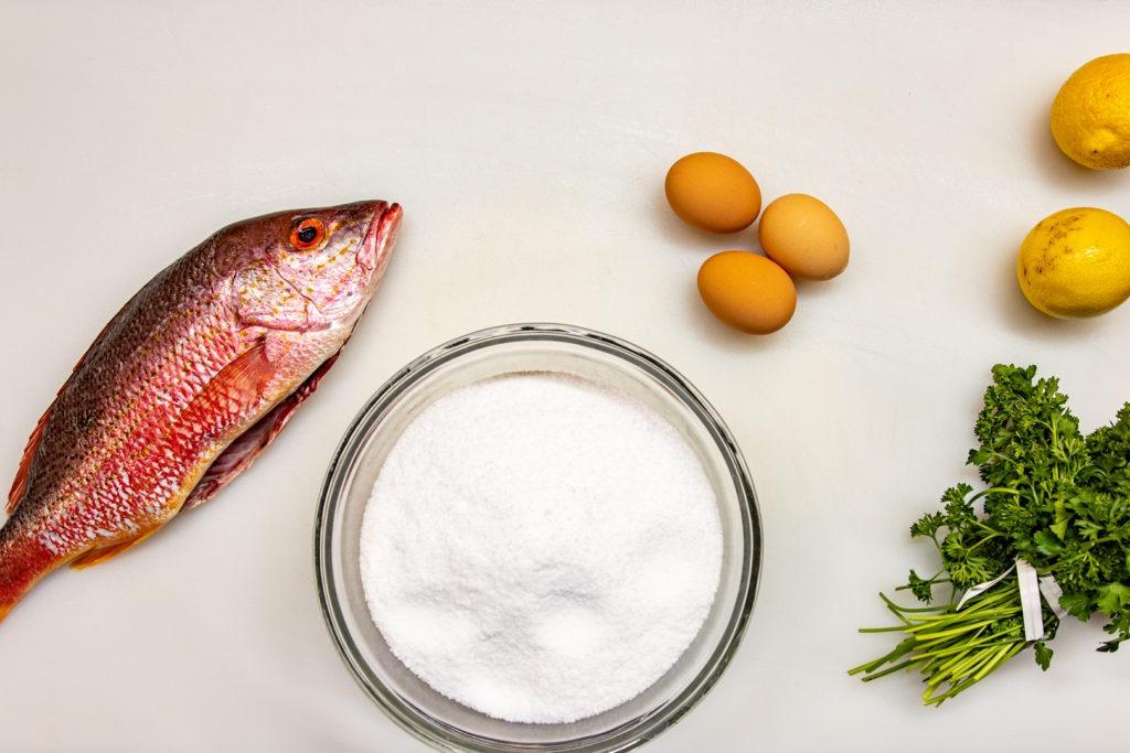 Ingredients for salt-crusted snapper