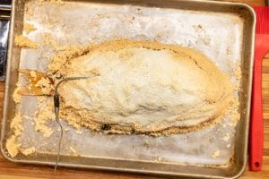 A cooked snapper in salt