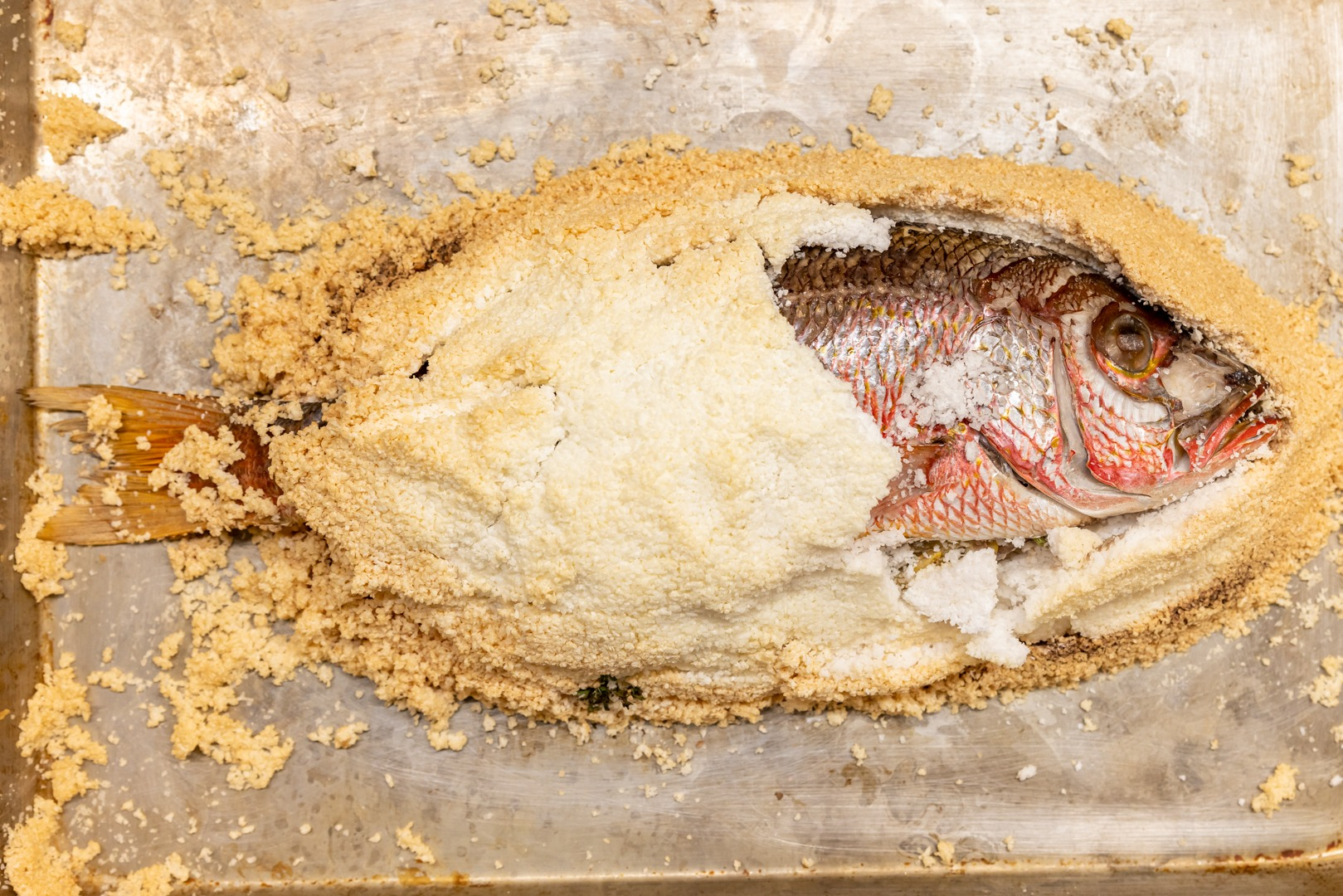 Salt-crusted red snapper