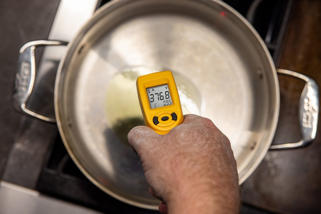 Temping the oil with and IR thermometer