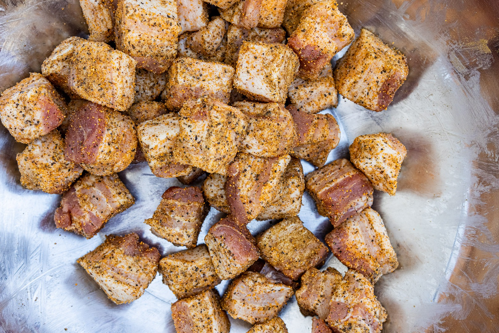 Pork belly cubes, well seasoned
