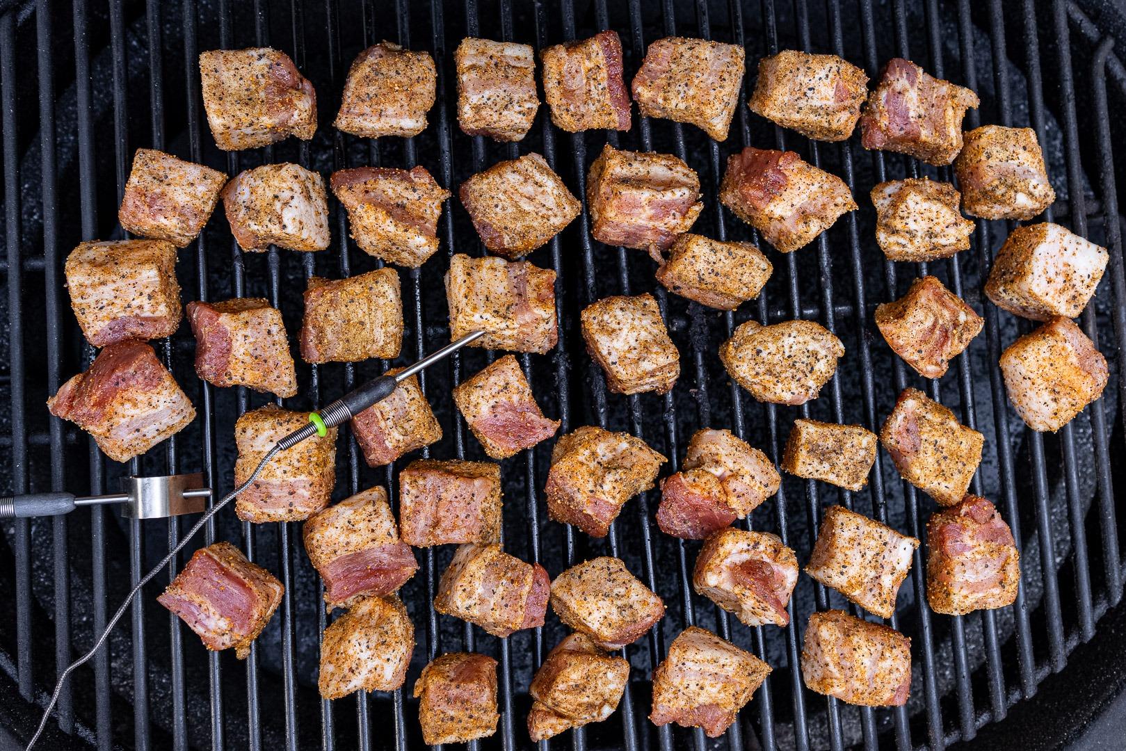 pork arranged on the smoker grate