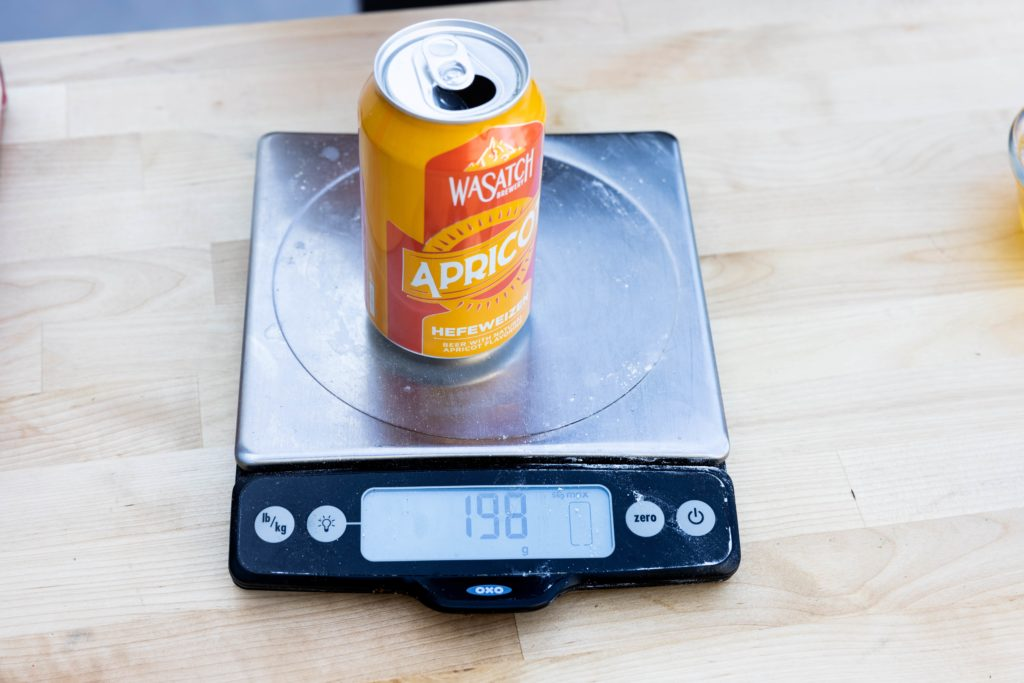 Weighing the beer before cooking