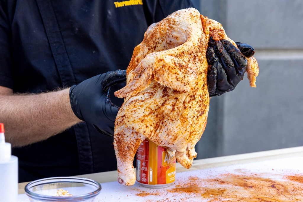 PUtting the chicken on the beer can