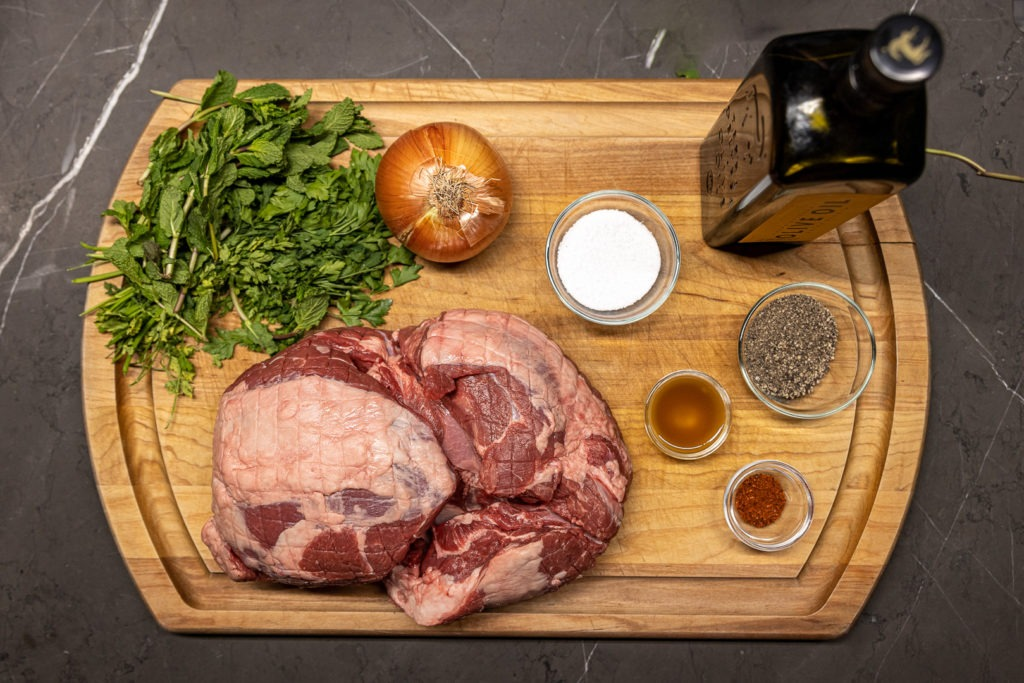 Ingredients for grilled butterflied leg of lamb