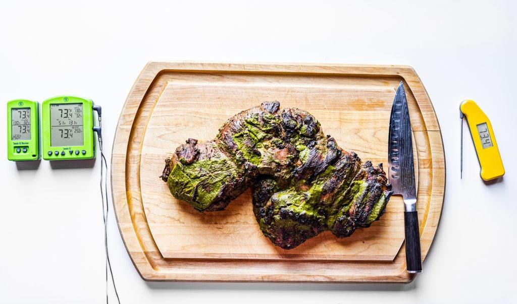 Grilled butterflied leg of lamb
