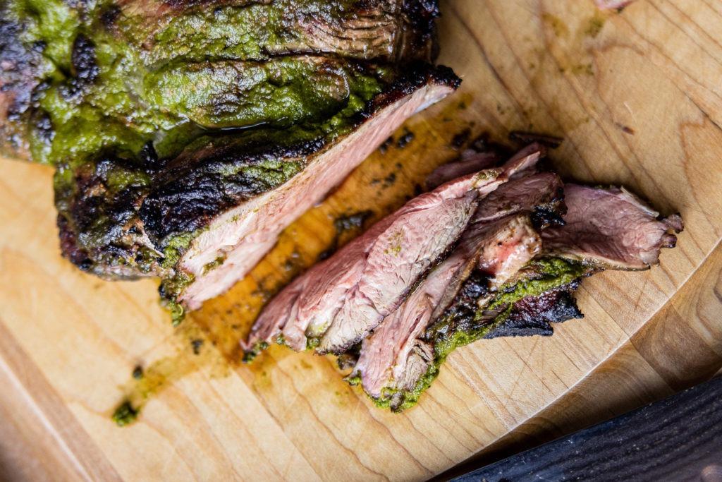 Sliced butterflied leg of lamb