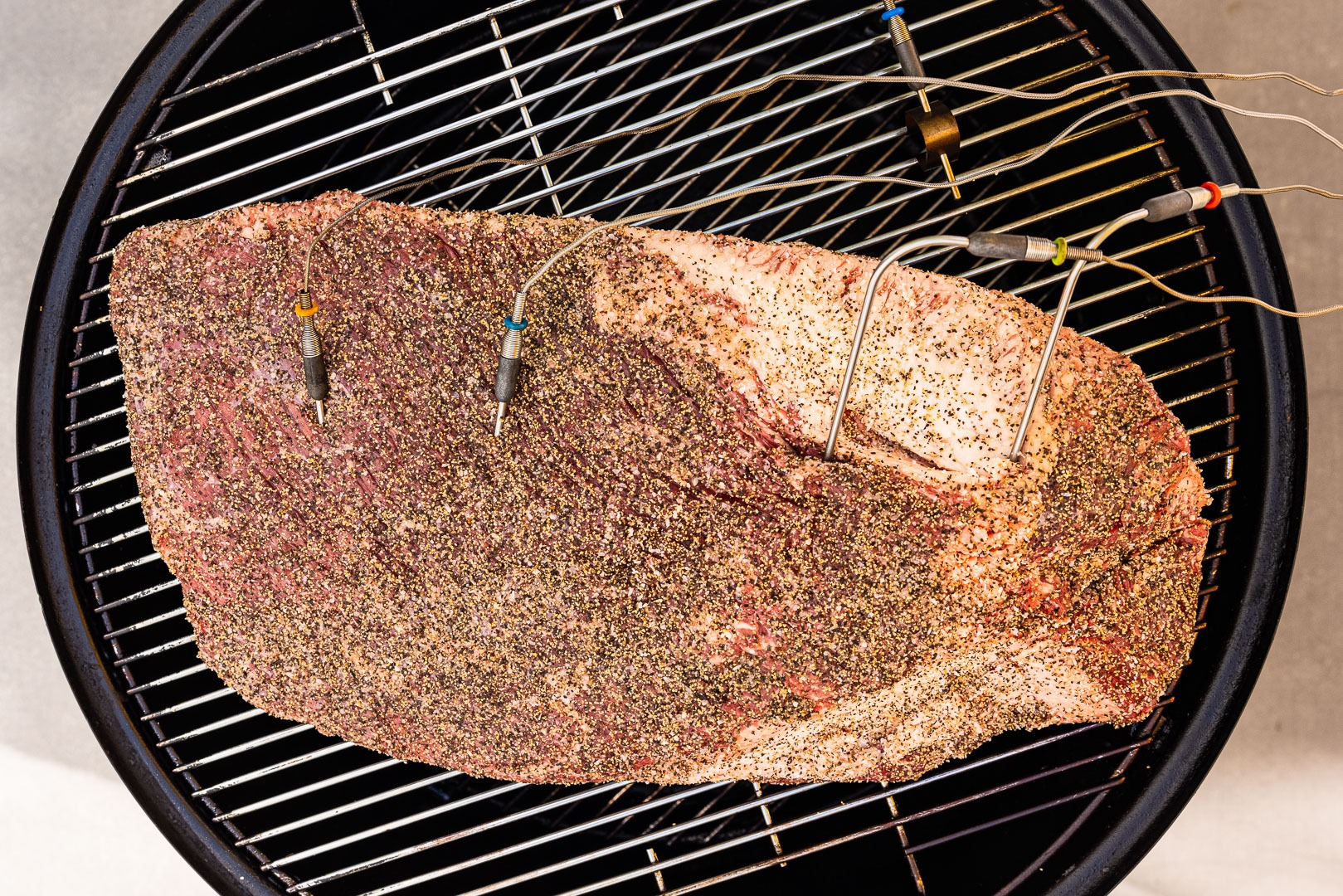 All four probes in the brisket on the smoker