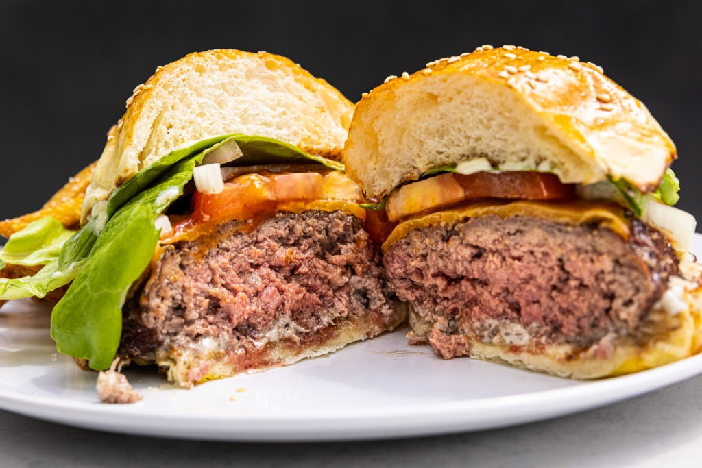 Perfect, medium-rare burger