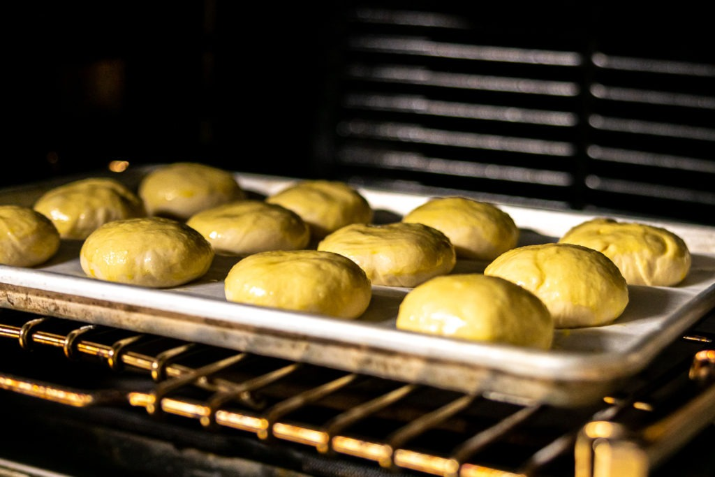 Proofing the buns