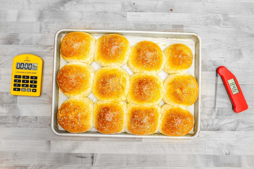 Hamburger buns with thermometers