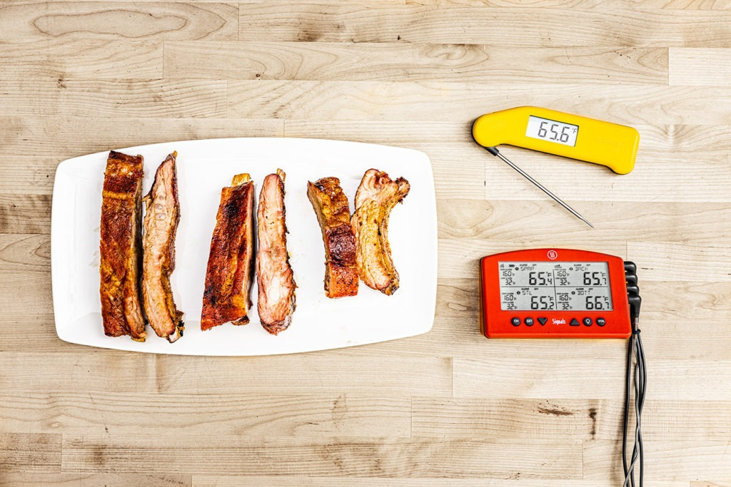 Ribs with thermometers