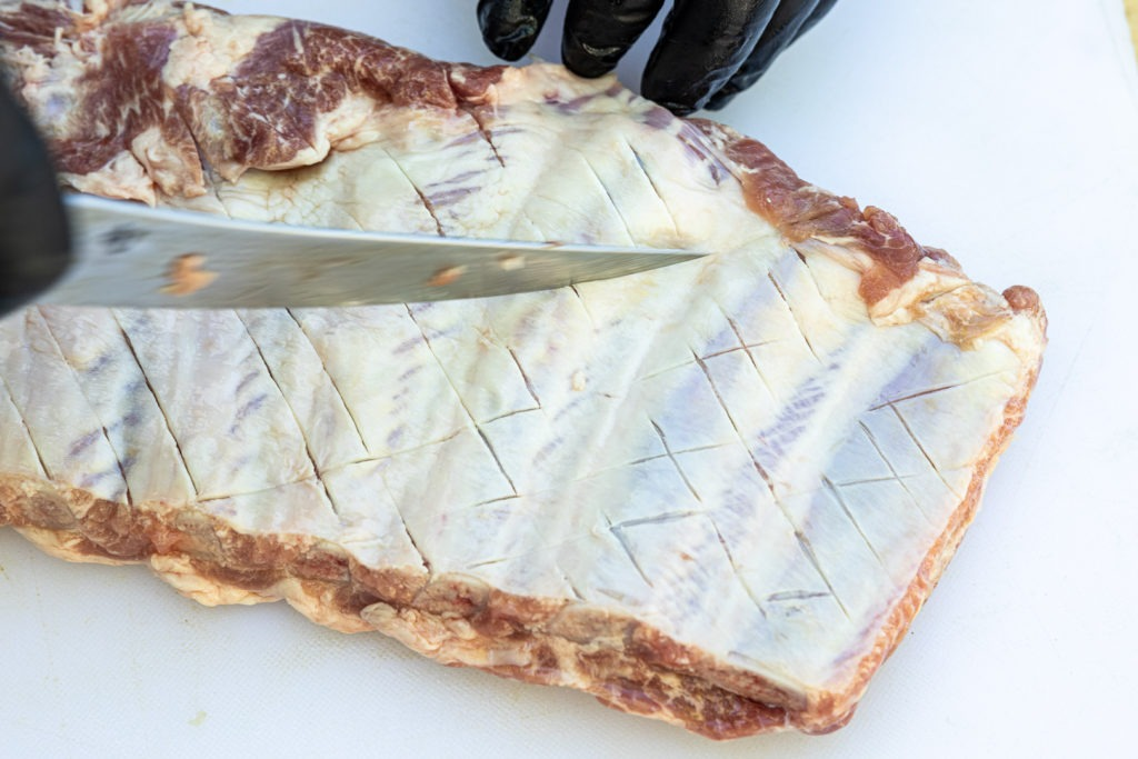 Ribs with a scored membrane