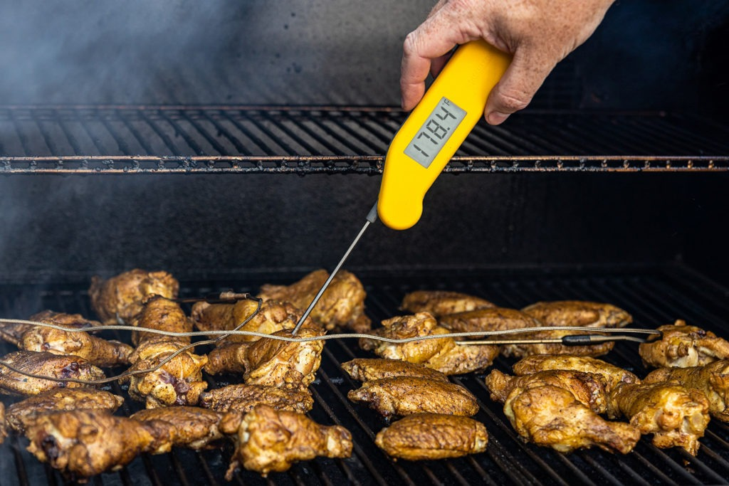 Verifying the wing temp with a Thermapen