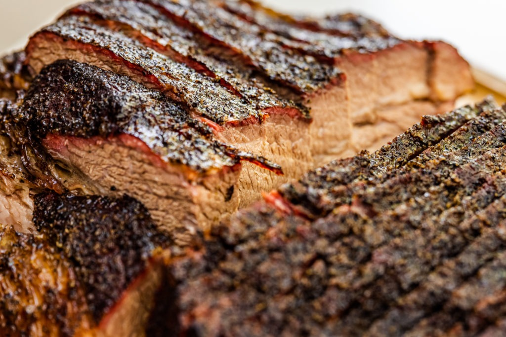 Sliced brisket point and flat