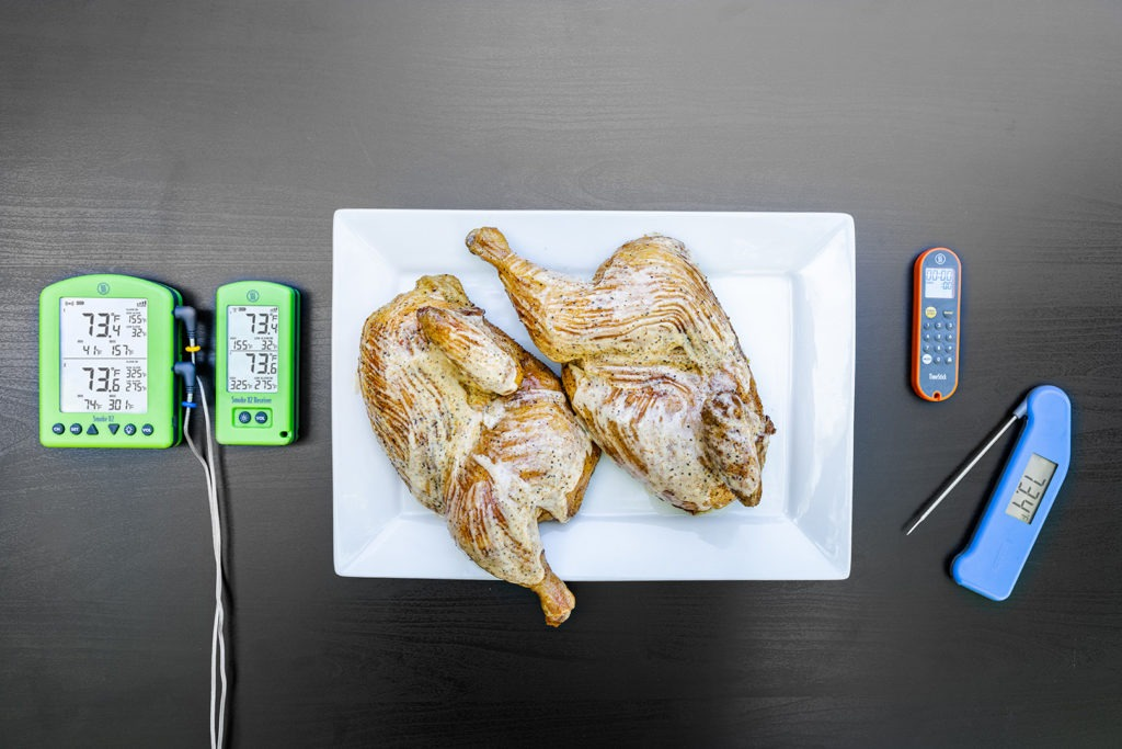 Alabama white sauce BBQ chicken with thermometers