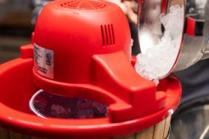 adding ice to the churn