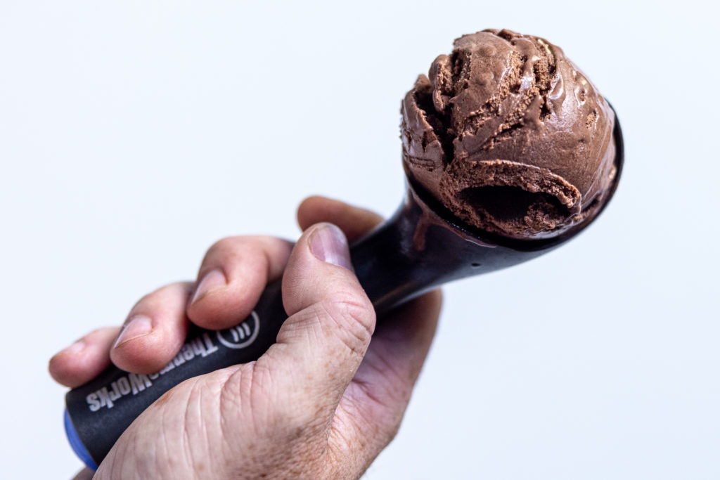 A scoop of homemade chocolate ice cream