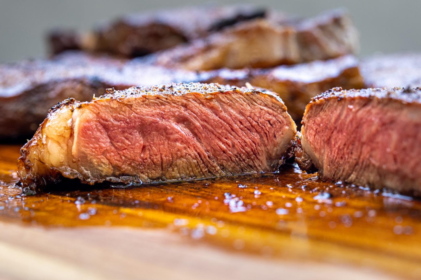 Juicy, tender steak, perfectly temped to medium rare
