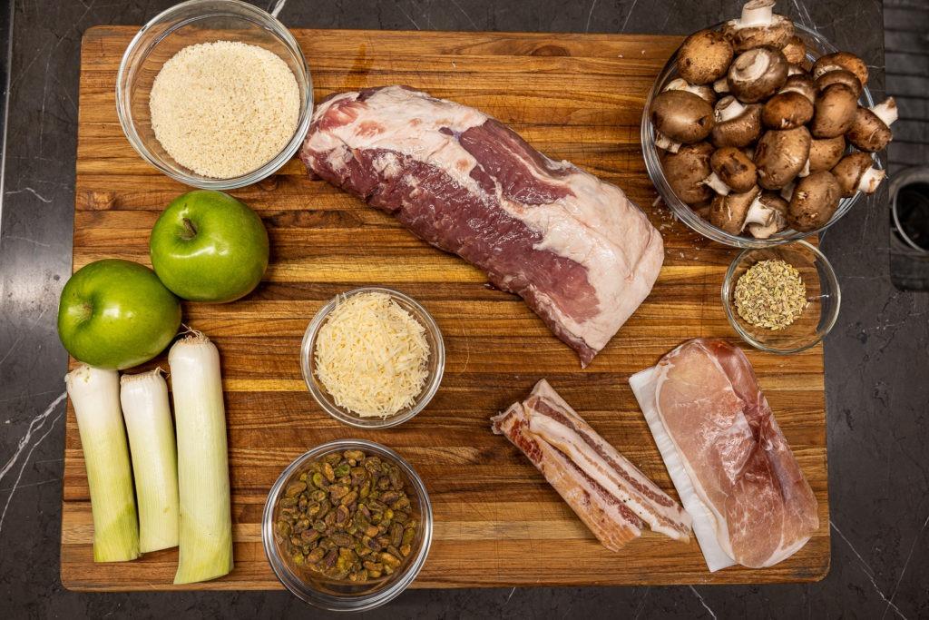 Ingredients for stuffed pork loin