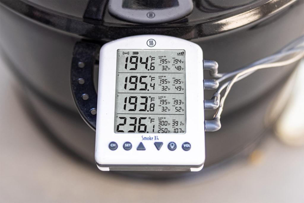 Smoke X4 monitoring a rib cook