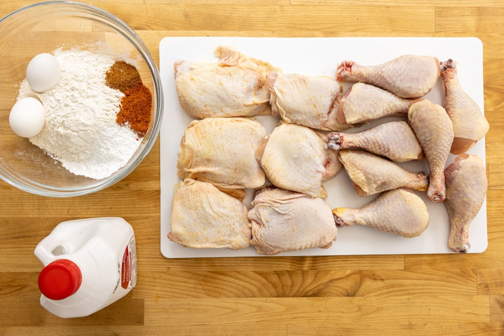 Ingredients for grilled fried chicken