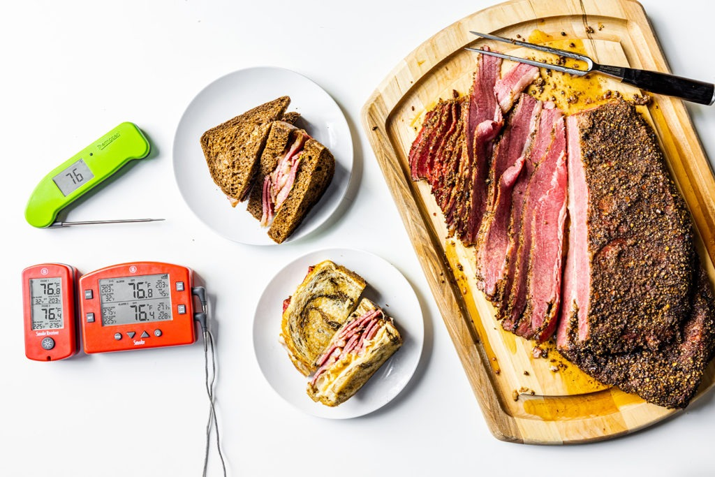 homemade pastrami, pastrami sandwiches, thermometers