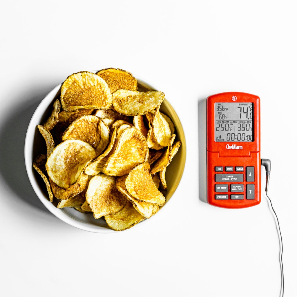 Homemade potato chips with a ChefAlarm thermometer