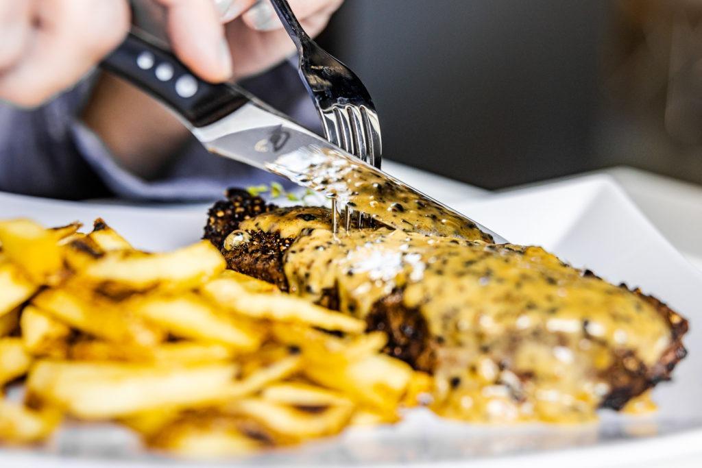 Classic steak au poivre with frites