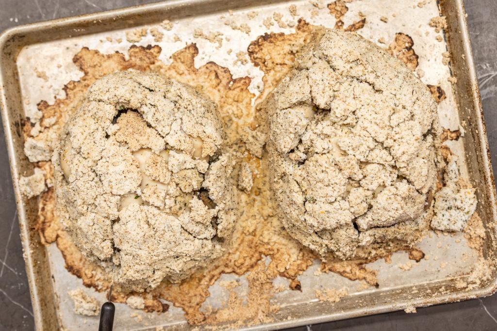 Salt-rasted Cornish hens in a cracked salt crust